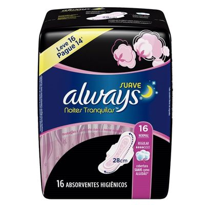 Absorvente Always Pink Suave Noturno Com Abas Leve 16 Pague 14