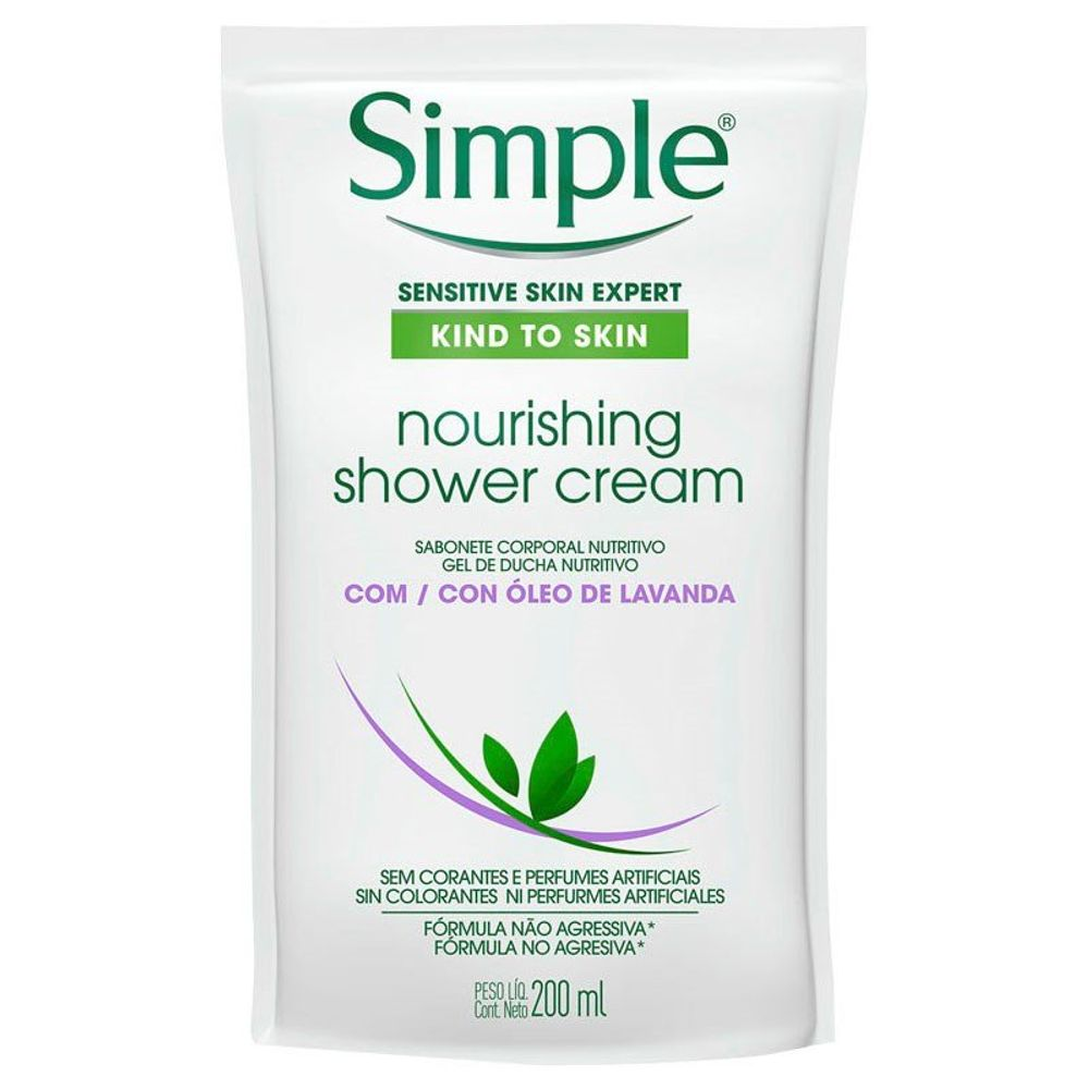 Sabonete Líquido Corporal Simple Refil Óleo De Lavanda Shower 200ml