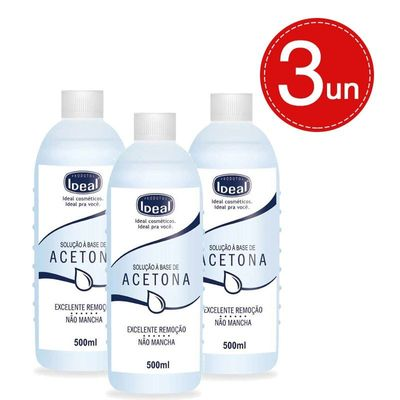 Removedor De Esmaltes Ideal A Base Acetona 500ml Leve 3 Pague 10,99 Em Cada