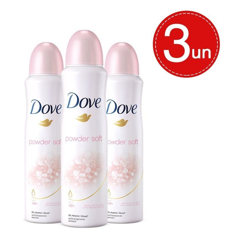 Desodorante Aerosol Dove Powder Soft 89g/150ml - 3 Unidades