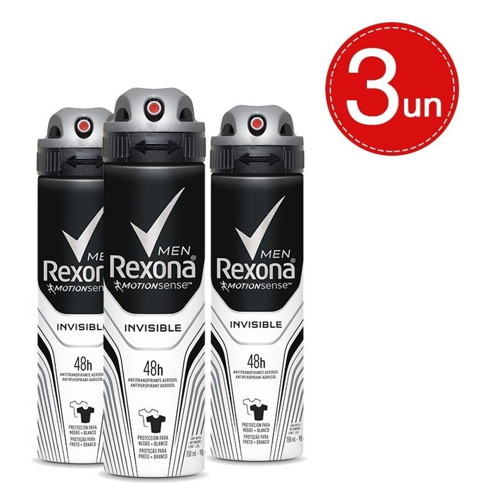 Desodorante Aerosol Rexona Invisible Men 90g/150ml - 3 Unidades