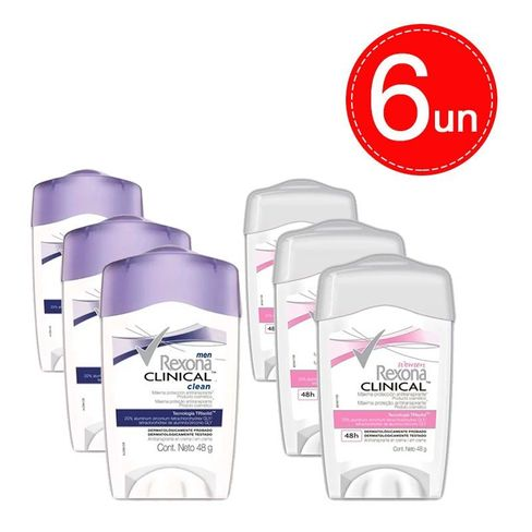 a00cd12f14 Desodorante Stick Rexona Clinical Creme Feminino Masculino 6 Unidades