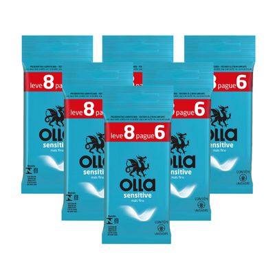 Kit Olla Preservativo Sensitive Leve 8 Pague 6 com 6 Packs