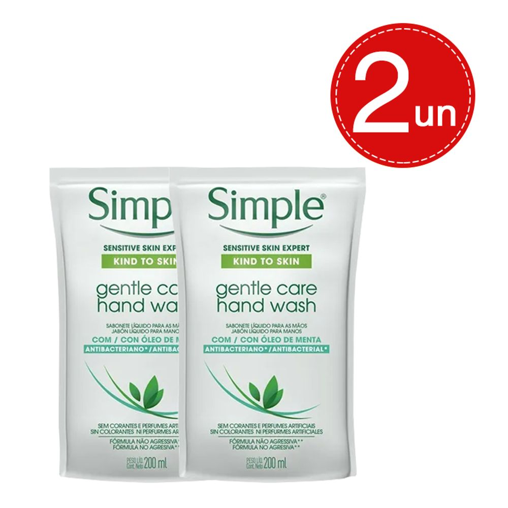Sabonete Líquido Simple Refil Hand Wash Antibacteriano G Care 200ml Leve 2 Pague 1