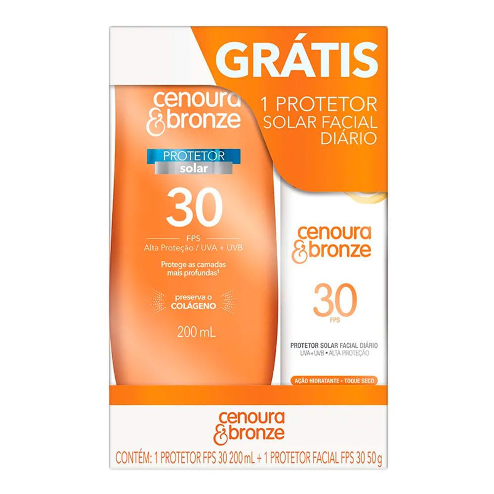 Kit Protetor Solar Cenoura e Bronze Loção FPS30 200 ml e Facial FPS30 50g