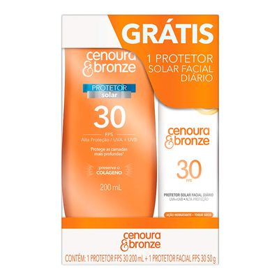 Kit Protetor Solar Cenoura & Bronze Loção FPS30 200ml E Facial FPS30