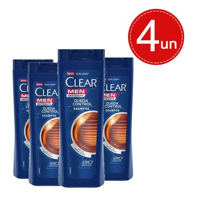 Kit Shampoo Clear Men Anticaspa Queda Control 400ml - 4 Unidades