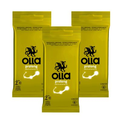 Olla Preservativo Camisinha Prolong 6uni. Com 3 Packs Kit Olla Preservativo Prolong 6uni. Com 3 Packs