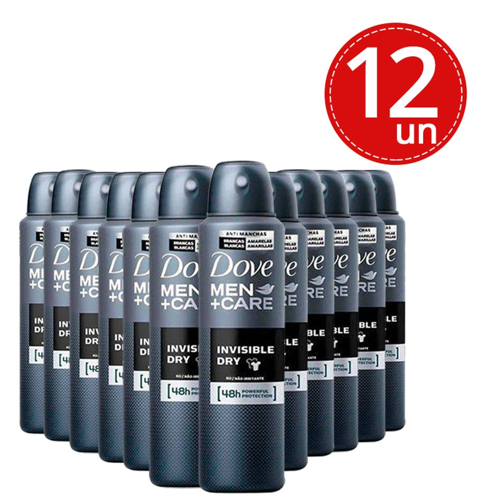 Desodorante Aerosol Dove Men Invisible Dry 89g/150ml - 12 Unidades