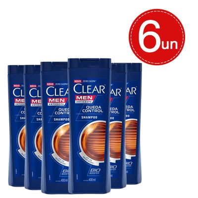 Shampoo Clear Men Anticaspa Queda Control 400ml Leve 6 Pague 3