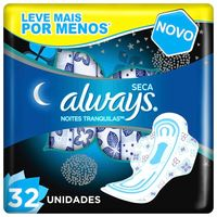 Absorvente Always Active Noturno Seca Com Abas Leve 32 Pague 28