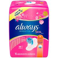 Absorvente Always Pink Suave Com Abas Leve 16 Pague 14