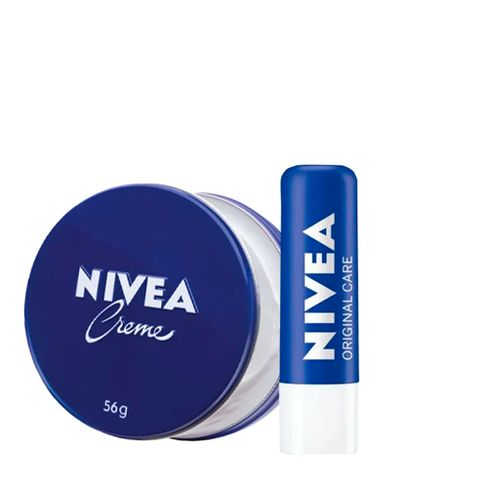 Kit Creme Hidratante Nívea Latinha Azul 56g + Protetor Labial Nivea Essential