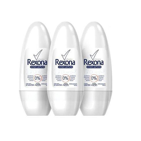 Kit Desodorante Roll On Rexona Sem Perfume 50ml - 3 Unidades