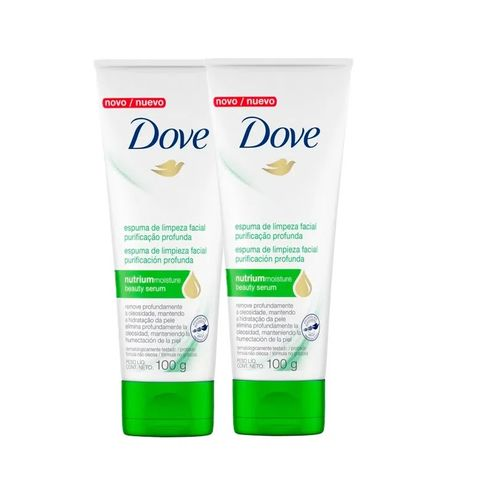 Kit Espuma De Limpeza Facial Dove Purificação Profunda 100g - 2 Unidades