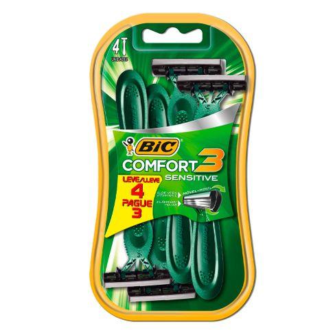 Aparelho De Barbear Bic Comfort 3 Sensível Leve 4 Pague 3