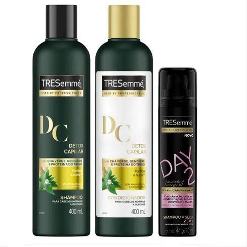 Kit Shampoo + Condicionador TRESemmé Detox Capilar Limpeza E Nutrição Ganhe Shampoo A Seco TRESemmé Day 2 Original