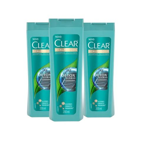Kit Shampoo Clear Anticaspa Detox Diário 200ml - 3 Unidades