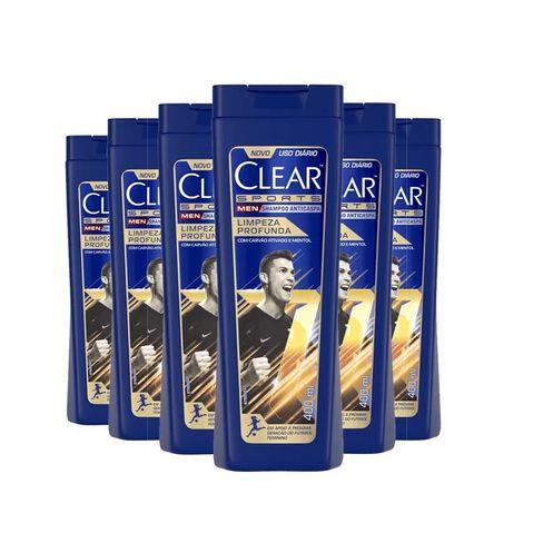 Kit Shampoo Anticaspa Clear Sports Men Limpeza Profunda 400ml - 6 Unidades