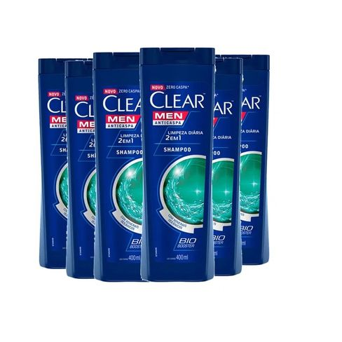 Kit Shampoo Clear Men Anticaspa Limpeza Diária 2 Em 1 400ml - 6 unidades