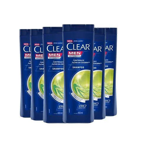 Kit Shampoo Clear Men Anticaspa Controle E Alívio Da Coceira 400ml - 6 unidades