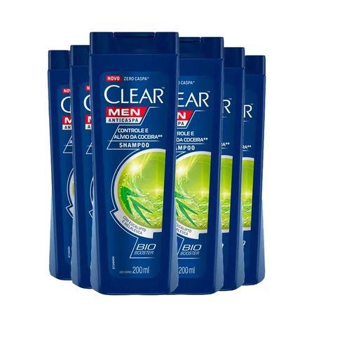 Kit Shampoo Clear Men Anticaspa Controle E Alívio Da Coceira 200ml - 6 unidades