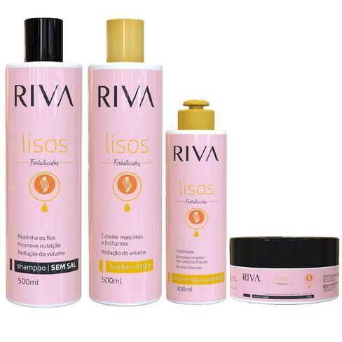 Kit de tratamento para cabelos RIVA Lisos - Shampoo, Condicionador, Mascara e Creme