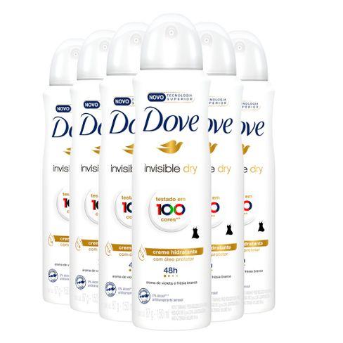 Kit Desodorante Aerosol Dove Invisible Dry 150ml/89g - 6 Unidades
