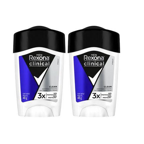 Kit Desodorante Antitranspirante Rexona Men Clinical Clean 48g - 2 Unidades