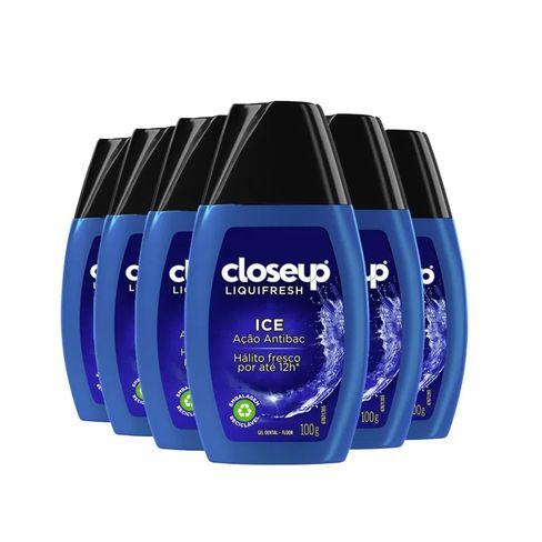 Kit Creme Dental Em Gel Close Up Liquifresh Ice 100g - 6 Unidades