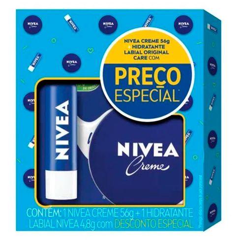 Kit Creme Facial Hidratação Nivea Latinha 56g + Protetor Labial Original